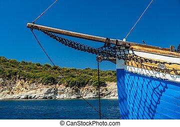 Sailing boat at sea in Meganisi