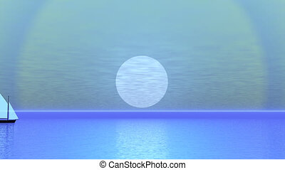 Simple sailing boat floating left to right by blue sunset over the ocean