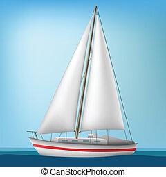 Sailing boat - White Sailing boat on sea