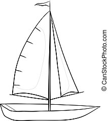 Sailing boat with a flag on the mast, monochrome contours on white background. Vector illustration