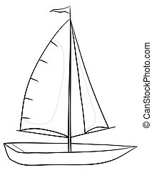 Sailing boat, contours - Sailing boat with a flag on the...