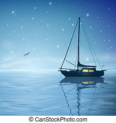 Sailing Boat - A Sailing Boat with Night Sky and Reflection...