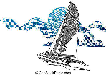 Sailing boat - Graphic sailing boat in graphic style