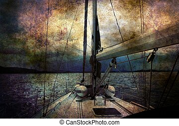 Sailing boat grunge concept
