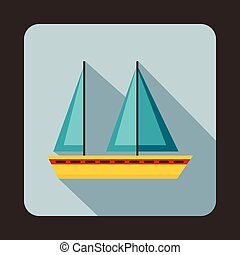 Sailing boat icon, flat style
