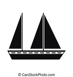 Sailing boat icon, simple style