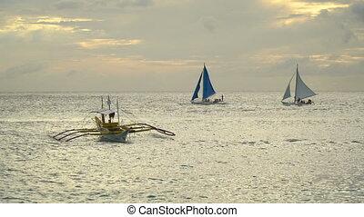Sailing boat in blue sea. Boracay island Philippines.