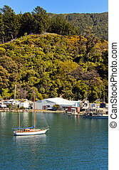 Sailing Boat in Marlborough Sounds, New Zealand.