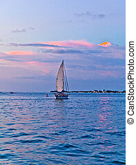 sunset in Key West - sailing boat in sunset in Key West