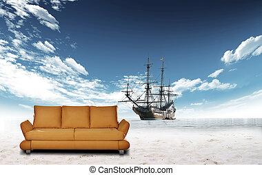 Sailing boat in the ocean