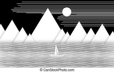 Sailing boat in the ocean with mountain and sun stock photo Instant Print Transfer, Wall - Building Feature, Abstract, At The Edge Of, Black And White