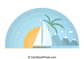 Sailing boat in the sea against the background of the rising sun. Tropical island, mountains, palm tree, gulls in the sky. The concept of a summer holiday in a flat style.