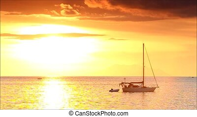 boat - sailing boat in the sea at sunset