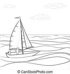 Sailing boat in the sea, contours