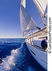 Sailing boat in the sea - Sailing boat wide angle view in ...