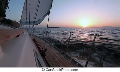 Sailing boat in the wind shot in HD