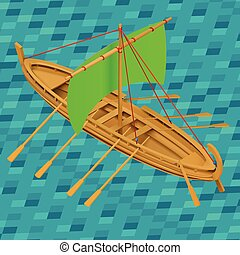 Sailing boat isometric vector illustration