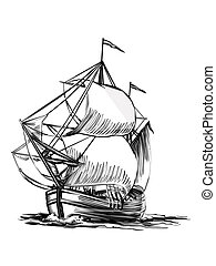 Sailing Boat line art ready for your design work or...