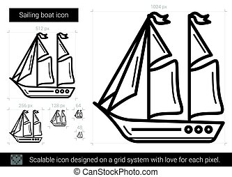 Sailing boat line icon.