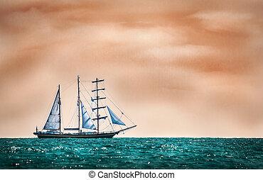 Sailing boat - Mystic scene of a sailing boat on adventure