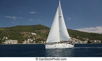 Sailing boat navigating