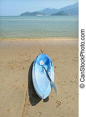 Sailing boat on a deserted coast