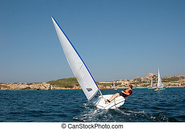 sailing boat ont the sea in Sardegna, Italy