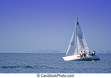 sailing boat - people out sailing
