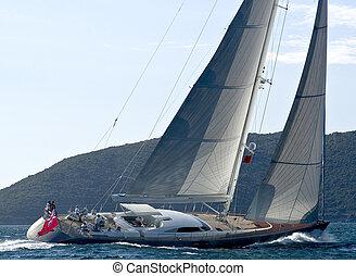 Sailing boat - sailing boat sailing strong wind