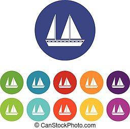 Sailing boat set icons