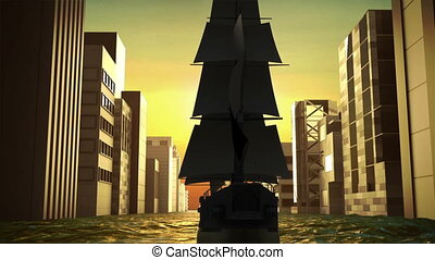 Sailing boat through the sea and make city business...