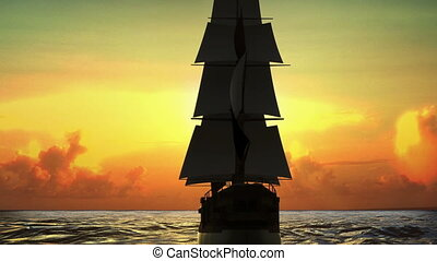 Sailing boat through the sea, Business vision, strategy...