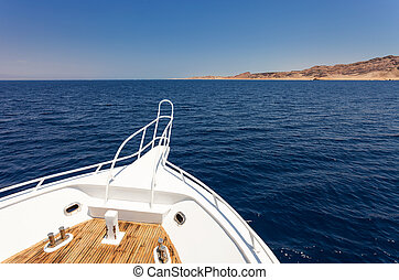 Sailing boat - View from sailing yacht in the sea in summer.