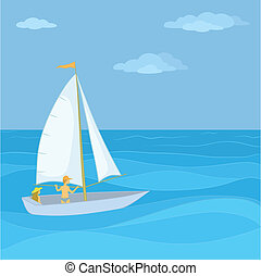 Sailing boat with a people