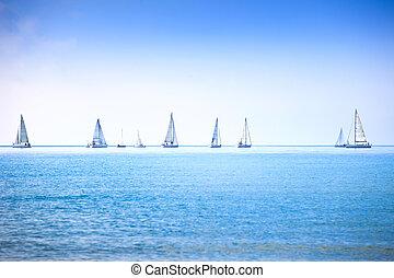 Sailing boat yacht regatta race on sea or ocean water -...