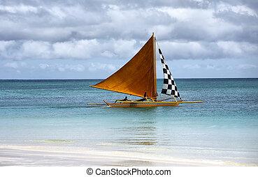 Sailing boats at an open ocean