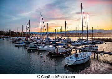 Sailing boats in Geneva City port