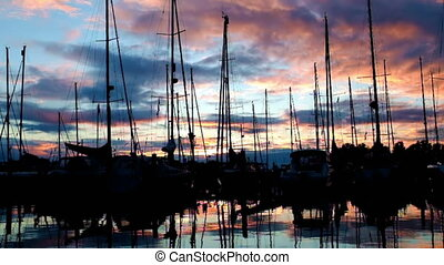 Sailing boats in the harbor at Katwoude in the Netherlands...
