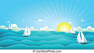 Illustration of a cartoon wide ocean landscape with yachts and sailing boats for spring or summer holiday vacations, including seagulls, rough sea, foam and bright sunshine