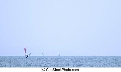 Sailing Boats on the horizon. seascape. sea sports