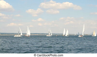 Sailing boats on the sea and blue s
