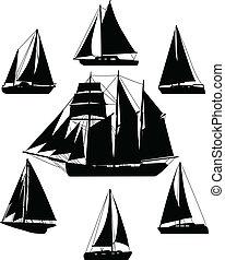 Sailing boats silhouettes - vector