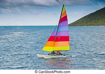 Sailing catamaran - Sailing a hobie cat in the caribbean