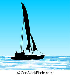 Sailing catamaran silhouette on blue waves