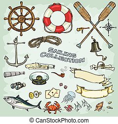 Sailing Collection - Nautical Collection, set of objects and...