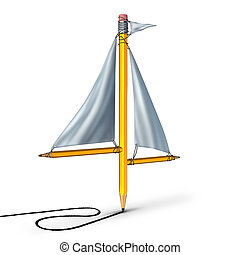 Sailing creativity metaphor as a group of pencils shaped as a boat sail representing the idea of adapting following the current trend and changing direction according to the winds of change.