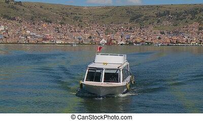 Sailing Cruise Boat At Lake Titicaca, Puno, Peru - Medium...