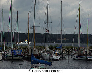 storm - sailing harbour in the storm with a little...