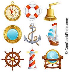 Sailing icon set