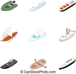 Sailing icons, isometric 3d style